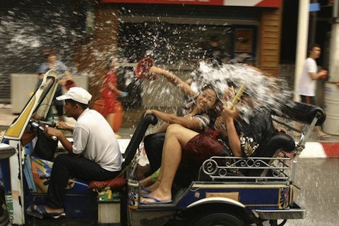 Songkran Taxi Getting Splashed
